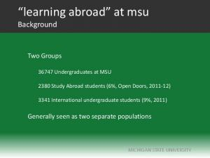 learning abroad at msu Background