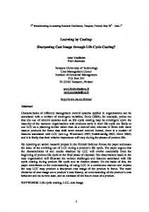Learning by Costing: Sharpening Cost Image through Life Cycle Costing?