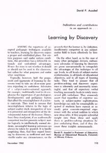 Learning by Discovery