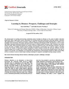Learning by Distance: Prospects, Challenges and Strategies