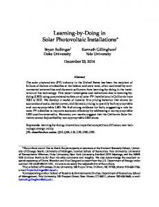 Learning-by-Doing in Solar Photovoltaic Installations