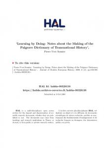 Learning by Doing: Notes about the Making of the Palgrave Dictionary of Transnational History,