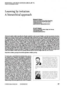 Learning by imitation: A hierarchical approach