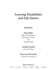 Learning Disabilities and Life Stories