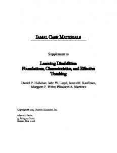 Learning Disabilities: Foundations, Characteristics, and Effective Teaching