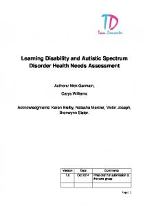 Learning Disability and Autistic Spectrum Disorder Health Needs Assessment
