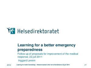 Learning for a better emergency preparedness