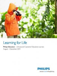 Learning for Life Philips Education Ultrasound Customer Education courses August December 2011
