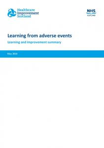 Learning from adverse events Learning and improvement summary
