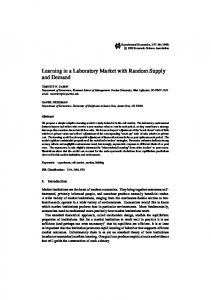 Learning in a Laboratory Market with Random Supply and Demand
