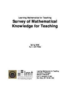 Learning Mathematics for Teaching Survey of Mathematical Knowledge for Teaching