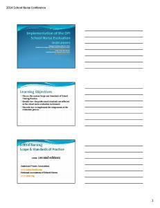Learning Objectives. School Nursing: Scope & Standards of Practice (second edition) 2014 School Nurse Conference