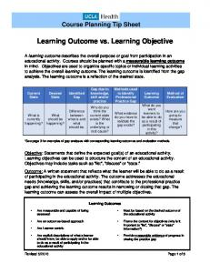 Learning Outcome vs. Learning Objective