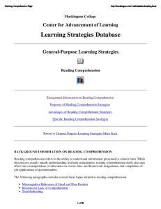 Learning Strategies Database