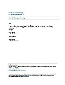 Learning strategies for distance learners: do they help?