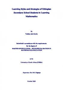 Learning Styles and Strategies of Ethiopian Secondary School Students in Learning Mathematics