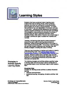 Learning Styles. Strategies to Address Specific. Learning Styles