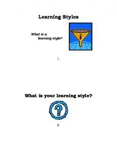 Learning Styles. What is a learning style? What is your learning style?