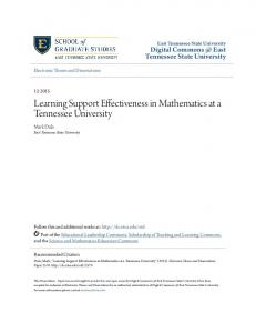 Learning Support Effectiveness in Mathematics at a Tennessee University