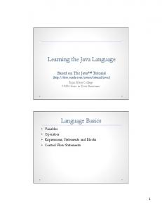 Learning the Java Language. Language Basics