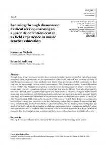 Learning through dissonance: Critical service-learning in a juvenile detention center as field experience in music teacher education