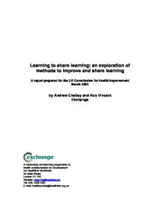 Learning to share learning: an exploration of methods to improve and share learning