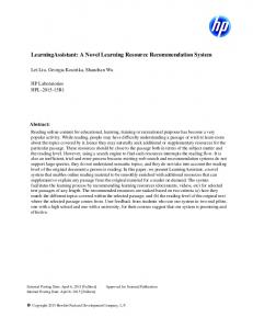 LearningAssistant: A Novel Learning Resource Recommendation System