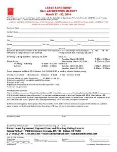 LEASE AGREEMENT DALLAS WESTERN MARKET March 27-30, 2014