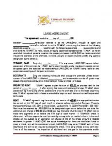 LEASE AGREEMENT. This agreement, made this day of, 201