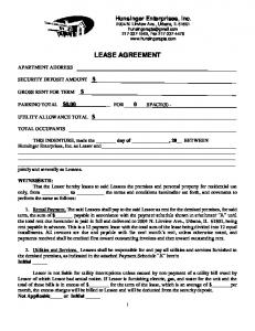 LEASE AGREEMENT. THIS INDENTURE, made the day of, 20 BETWEEN Hunsinger Enterprises, Inc. as Lessor and