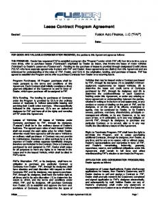 Lease Contract Program Agreement
