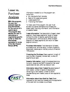 Lease vs. Purchase Analysis