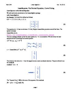LeastSquares, The Normal Equation, Curve Fitting