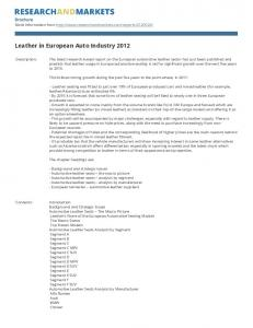 Leather in European Auto Industry 2012
