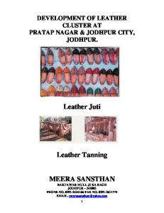 Leather Juti. Leather Tanning MEERA SANSTHAN