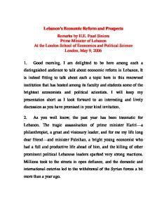 Lebanon s Economic Reform and Prospects
