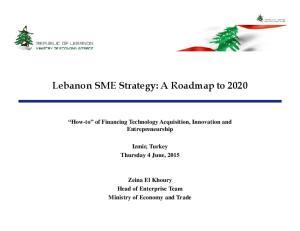 Lebanon SME Strategy: A Roadmap to 2020