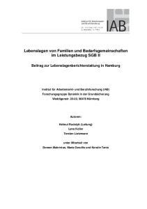 Lebenslagen von Familien und Bedarfsgemeinschaften im Leistungsbezug SGB II