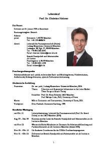 Lebenslauf Prof. Dr. Christian Holzner