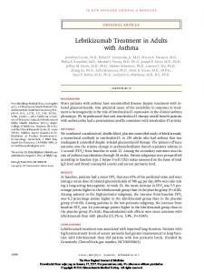 Lebrikizumab Treatment in Adults with Asthma