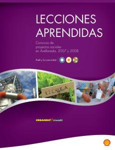 LECCIONES APRENDIDAS. Concurso de proyectos sociales en Avellaneda, 2007 y Shell y la comunidad