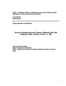 Lecciones Latinoamericanas para Promover la Educación para Todos Cartagena de Indias, Colombia, Octubre 9-11, 2006