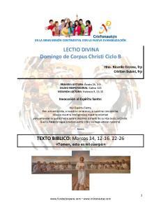 LECTIO DIVINA Domingo de Corpus Christi Ciclo B