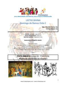 LECTIO DIVINA Domingo de Ramos Ciclo C