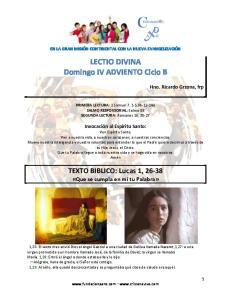 LECTIO DIVINA Domingo IV ADVIENTO Ciclo B