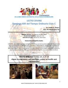 LECTIO DIVINA Domingo XXII del Tiempo Ordinario Ciclo C