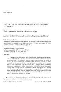 LECTURA DE LA EXPERIENCIA DEL MIEDO: MUJERES LEYENDO 1. Fear experience reading: women reading