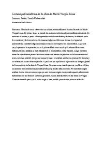 Lectura psicoanalítica de la obra de Mario Vargas Llosa