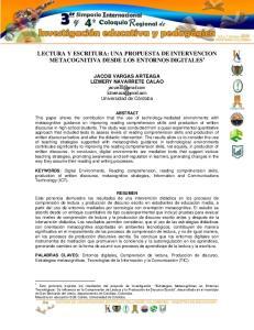 LECTURA Y ESCRITURA: UNA PROPUESTA DE INTERVENCION METACOGNITIVA DESDE LOS ENTORNOS DIGITALES 1