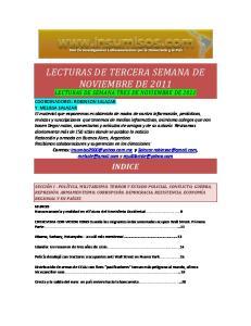 LECTURAS DE TERCERA SEMANA DE NOVIEMBRE DE 2011 LECTURAS DE SEMANA TRES DE NOVIEMBRE DE 2011